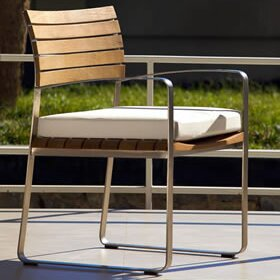 Limited Stacking Teak Patio Dining Chair with Cushion by OASIQ