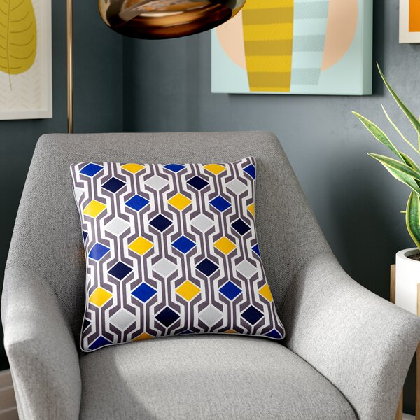 Antonia Geometric Square Woven Cotton Throw Pillow by Langley Street