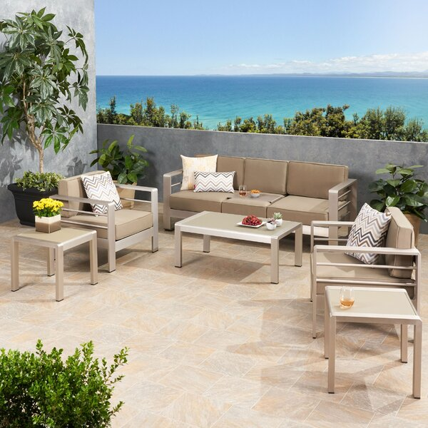 Eaker Outdoor 5 Piece Sofa Seating Group with Cushions by Orren Ellis