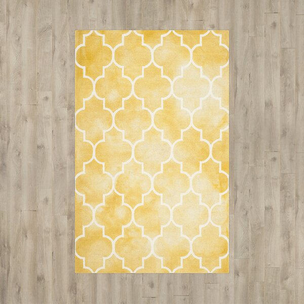 Handmade Yellow/White Area Rug by House of Hampton