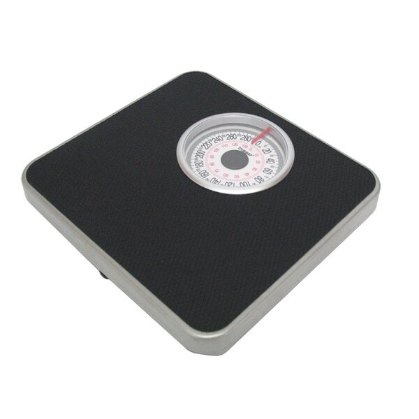 Silver Frame Mechanical Bathroom Scale with Round Display by Trimmer