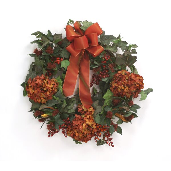 Fall Wreath with Hydrangeas and Berries by Distinctive Designs