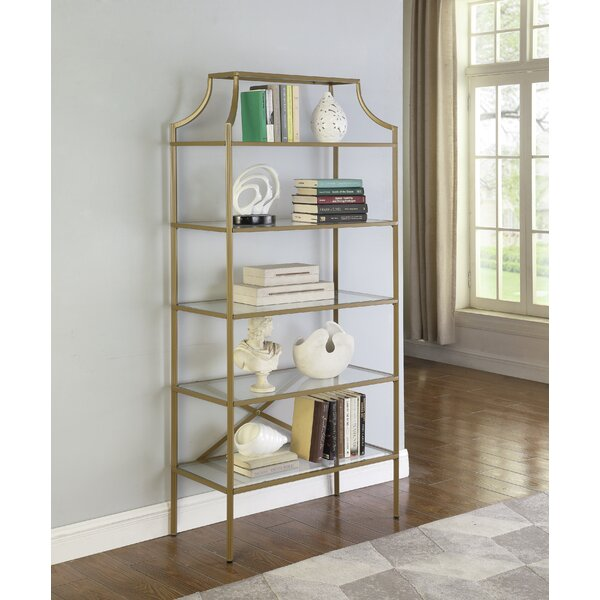Ayotte 5-Tier Tempered Glass Shelves Etagere Bookcase By Mercer41