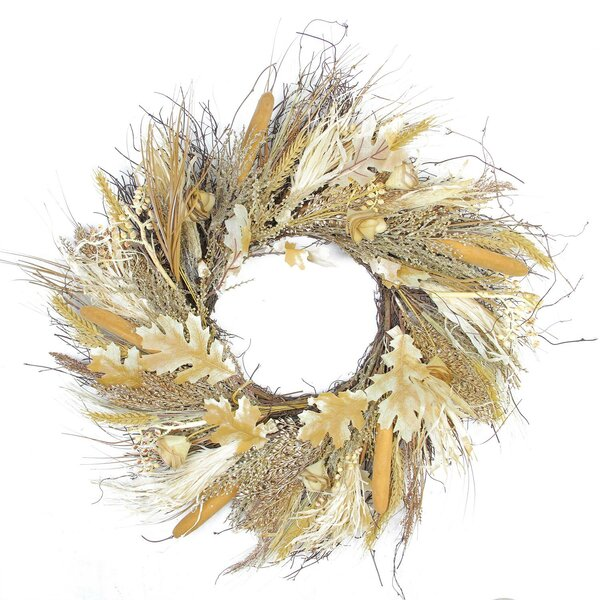 Autumn Harvest Thanksgiving 24 Cattail and Wheat Artificial Wreath by August Grove