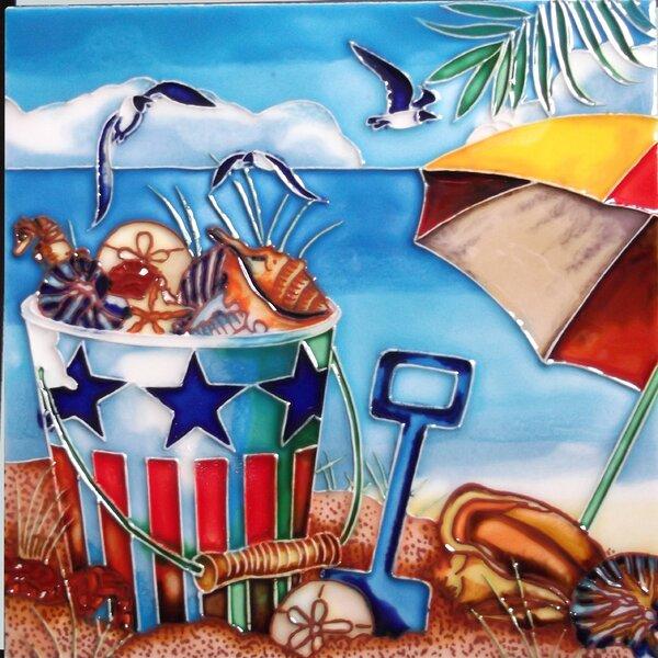 Beach Seashell Bucket Tile Wall Decor by Continental Art Center