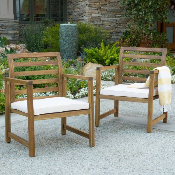 Gaynelle Outdoor Arm Chair with Cushion (Set of 2) by Beachcrest Home