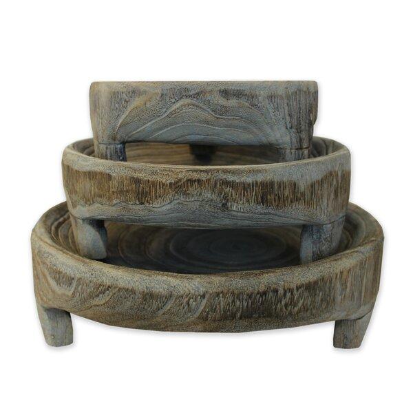 3 Piece Claude Robin Wood Sculpture Set by Union Rustic