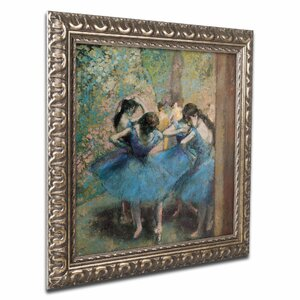 'Dancers in Blue, 1890' by Edgar Degas Framed Painting Print by Trademark Fine Art