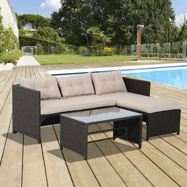 Jamaica Avenue 3 Piece Rattan Sectional Seating Group with Cushions by Latitude Run