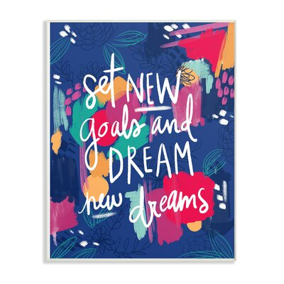 New Goals Painted Inspirational Textual Art Print On Canvas Wrought Studio Format White Framed Size 19 H X 13 W X 0 5 D Shefinds