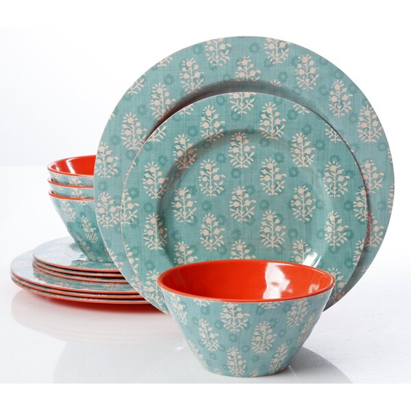 Cottage Melamine 12 Piece Dinnerware Set, Service for 4 by Zipcode Design
