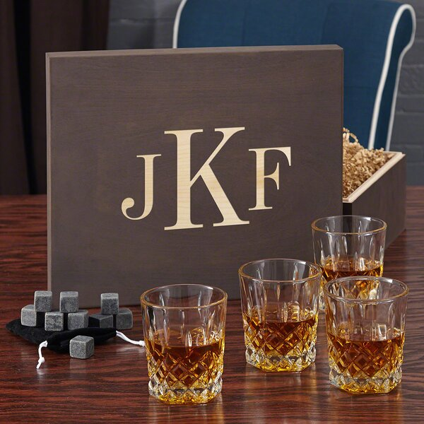 St. Lorenz Whiskey Lovers 12 oz. Crystal Gift Set with Monogram Box by Home Wet Bar