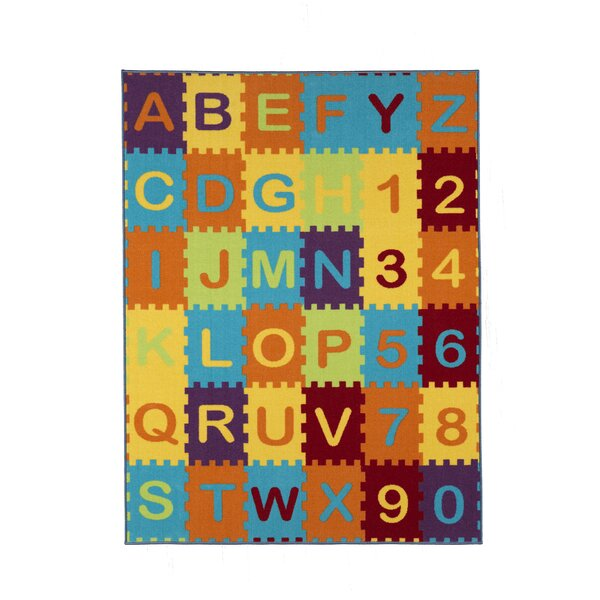 Malik Puzzle Educational Alphabet Area Rug by Zoomie Kids