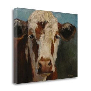 'Pearl Cow Painting' Print on Wrapped Canvas by Tangletown Fine Art