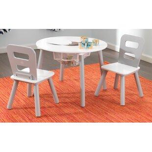 3 Tlg. Rundes Kindertisch Und Stuhl Set