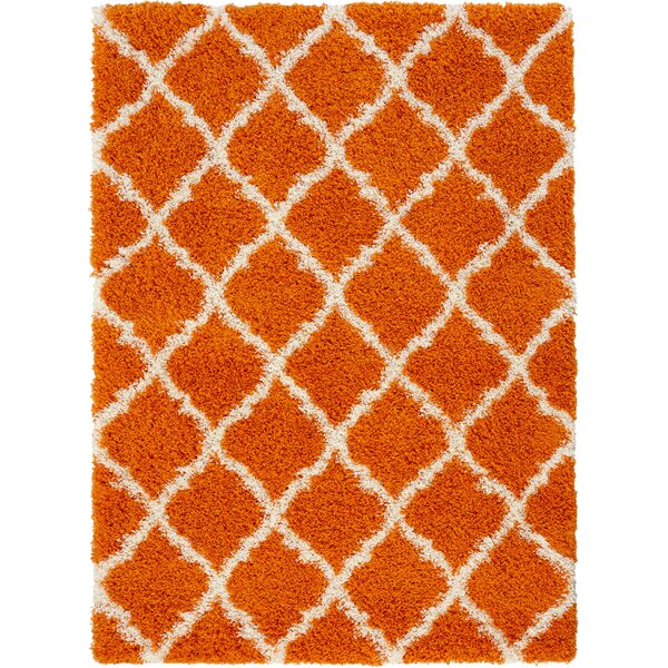 Radford Soft Orange Shaggy Area Rug by Wrought Studio