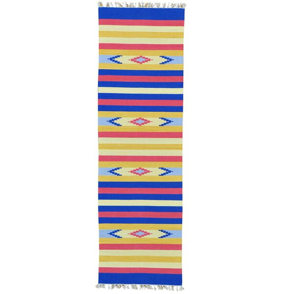 One-of-a-Kind Tomasini Flat Weave Southwestern Killim Hand-Knotted Cotton Blue/Yellow Area Rug by Millwood Pines