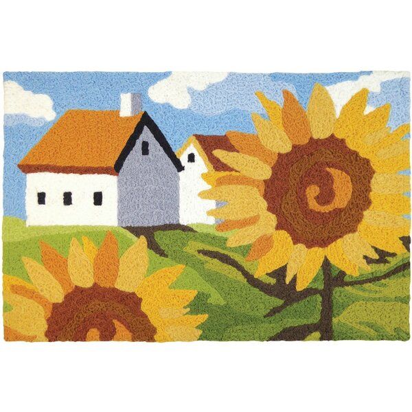Mcginley Sunflowers on the Farm Hand-Tufted Blue/Green/Yellow Indoor/Outdoor Area Rug by August Grove