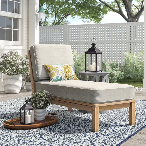 Summerton Teak Chaise with Cushions by Birch Lane™ Heritage