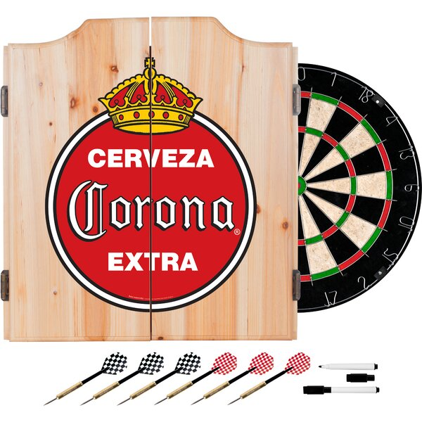 Corona Vintage Dartboard and Cabinet Set by Trademark Global