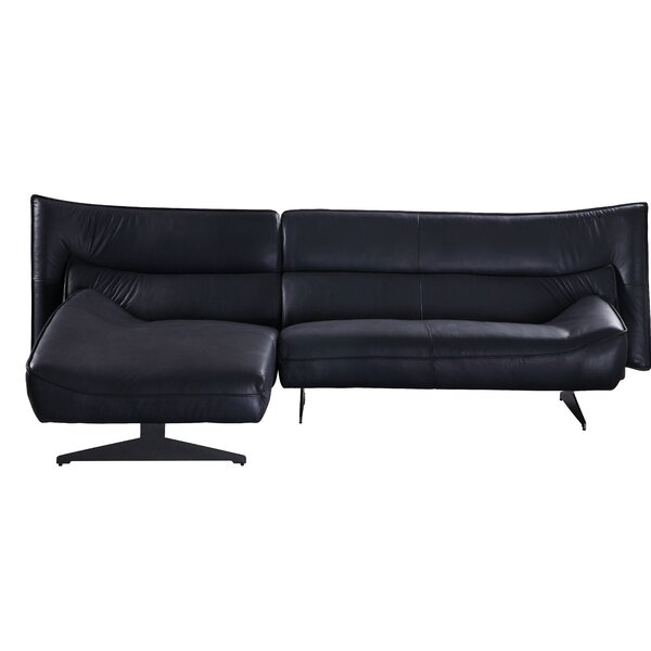 Leppert Leather Left Hand Facing Sectional by Orren Ellis