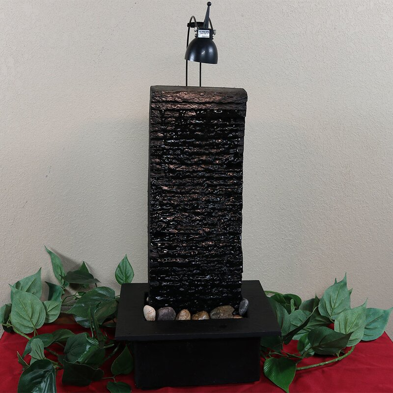 Slate Crest Tabletop Water Fountain With Light