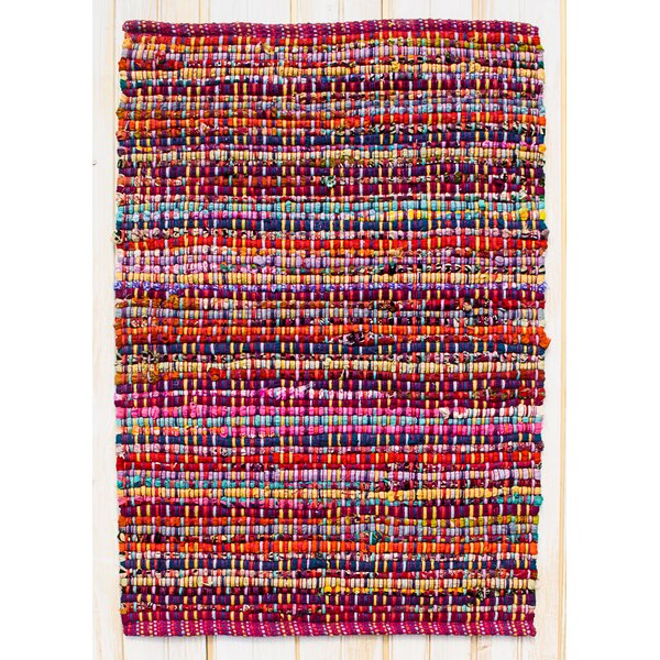 Cross Grain Hand Woven Cotton Red/Pink/Blue Area Rug by CLM