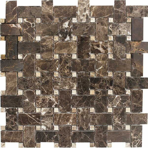 Emperador with Basketweave Stone Mosaic Tile in Dark/Light by Parvatile