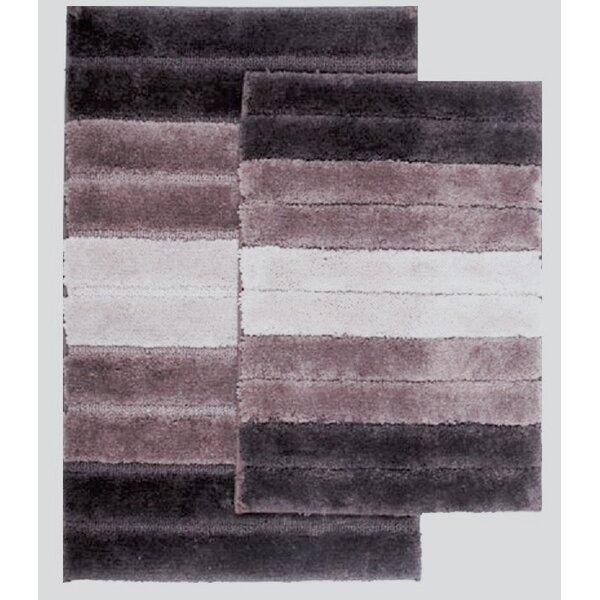 Saulsberry Ombre Shade Rectangle Non-Slip Striped piece Bath Rug Set