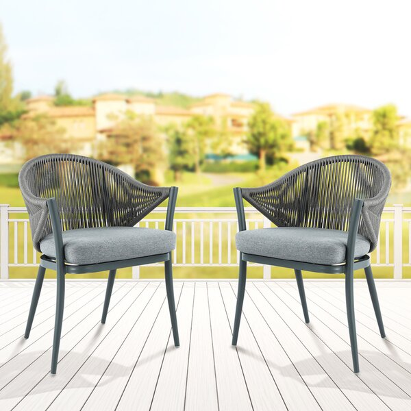 Mukul Patio Dining Chair With Cushion (Set Of 2) By Bungalow Rose
