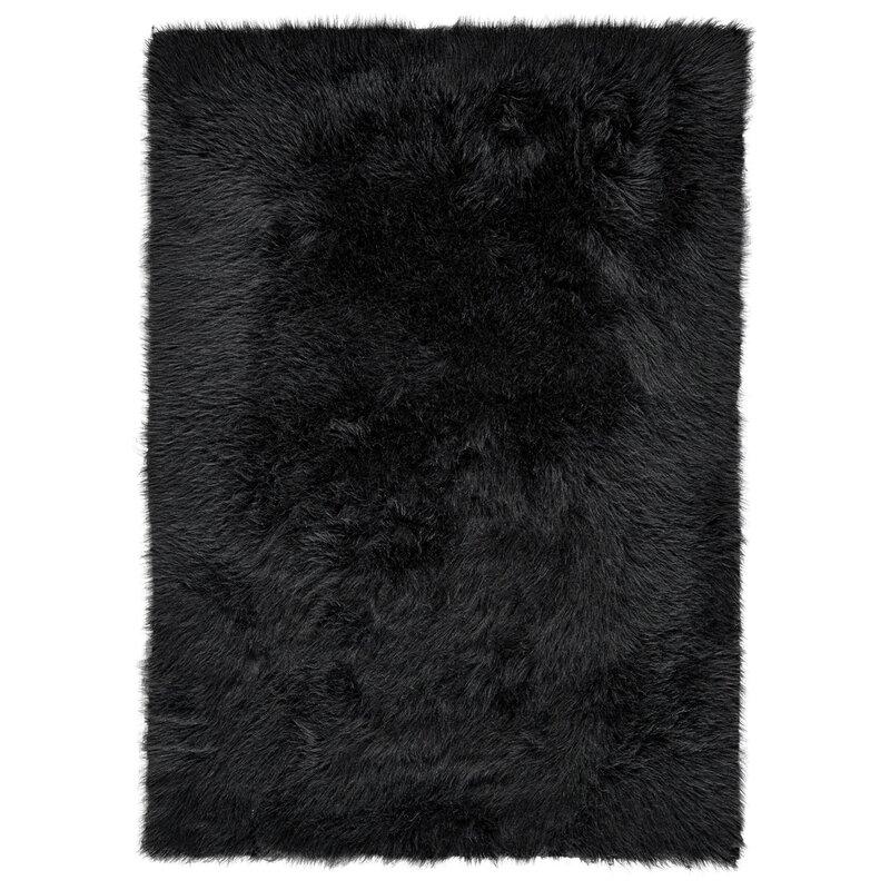 Linden Faux Fur Black Area Rug