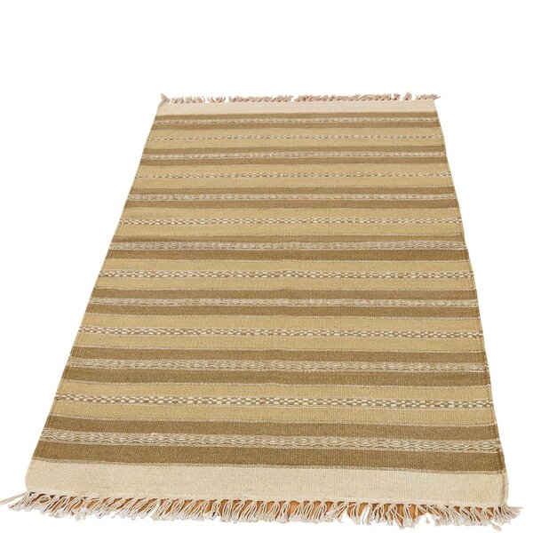 Durie Kilim Hand-Knotted Light Brown/Beige Area Rug by Bloomsbury Market
