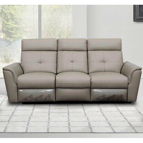 Mckean Genuine Leather Reclining Sofa By Orren Ellis