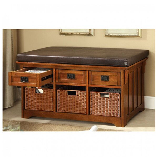 Wight Faux Leather Storage Bench by Loon Peak