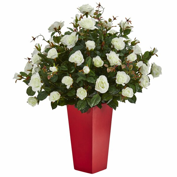 Rose Bush Artificial Floral Arrangement in Planter by Latitude Run