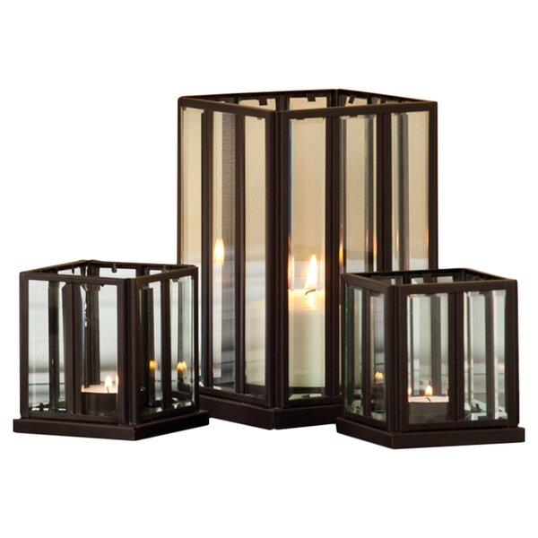 Samantha 3 Piece Metal Glass Lantern Set by Evergreen Enterprises, Inc