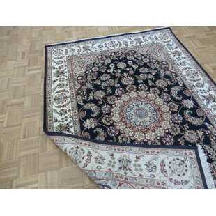 One-of-a-Kind Flintridge Oriental Hand-Knotted 5'7 x 8'2 Wool/Silk Blue/Gray Area Rug by Charlton Home