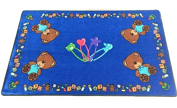 Baby Bears Hand-Tufted Blue Area Rug by Kids World Carpets