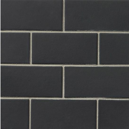 Portofino 3 x 6 Ceramic Subway Tile in Black by Grayson Martin
