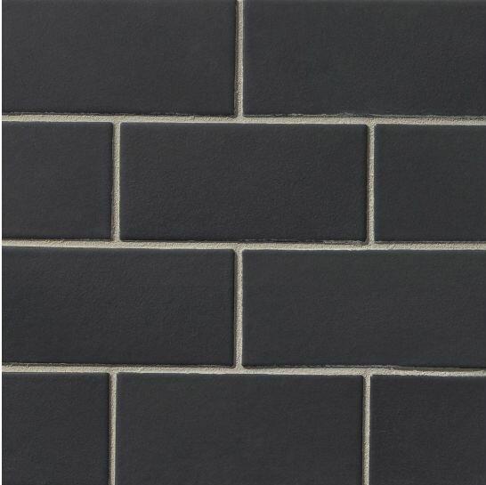 Portofino 3 x 6 Ceramic Subway Tile in Black by Grayson Martin
