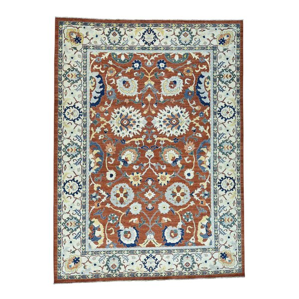 One-of-a-Kind Eberly Peshawar Sultanabad Oriental Hand-Knotted Red Area Rug by World Menagerie