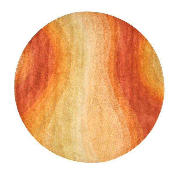 Navarrete Hand-Tufted Wool Orange/Blue Area Rug by Latitude Run