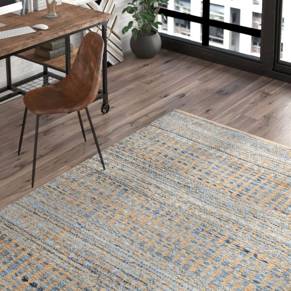 Bernd Hand-Woven Flat Weave Natural/Blue Area Rug