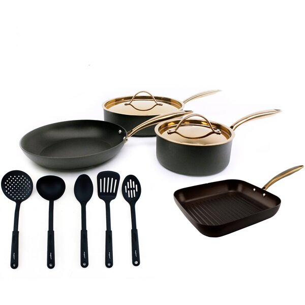 Ouro 11 Piece Hard Anodized Starter Non-Stick Stainless Steel Cookware Set by BergHOFF International