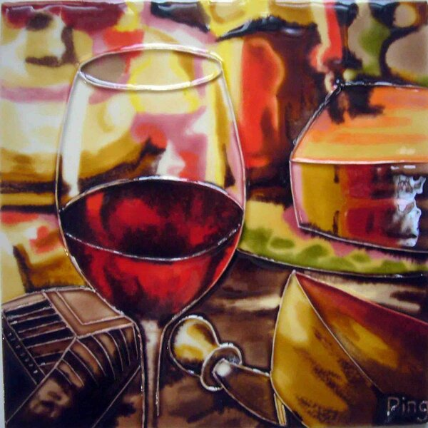 Wine Glass with Cheese Tile Wall Decor by Continental Art Center