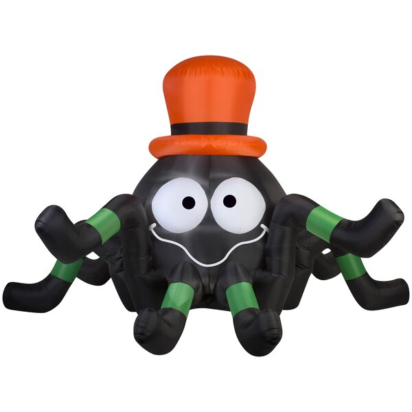 Animated Spider Giant Inflatable with Hat by The Holiday Aisle