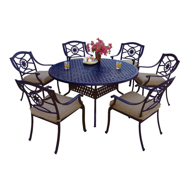 Thompsontown 7 Piece Dining Set with Cushions by Alcott Hill