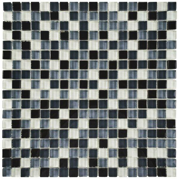 Sierra 0.625 x 0.625 Glass Mosaic Tile in Black/White by EliteTile