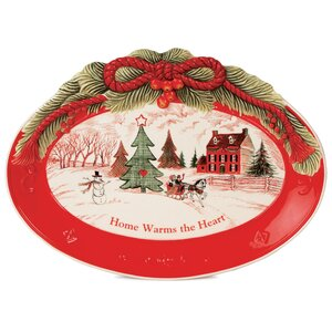 Home Warms The Heart Oval Cookie Platter (Set of 2)