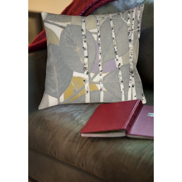 Birch Leaf 1 Printed Throw Pillow by Manual Woodworkers & Weavers